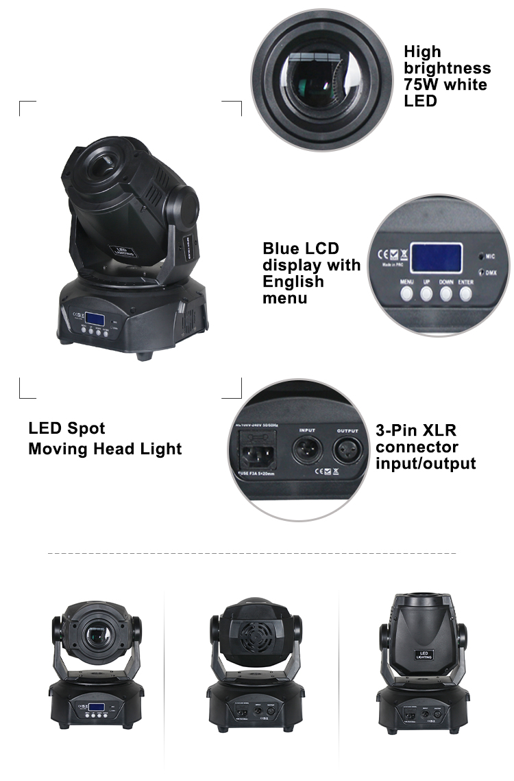 75 watt spot led moving head